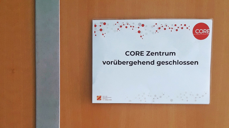 "Sign ""CORE Center closed"""